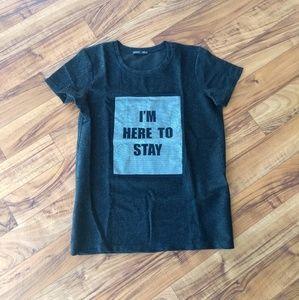 Zara black I'm Here To Stay graphic t-shirt